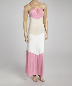 Pink Beige Color Block Maxi Dress - Women