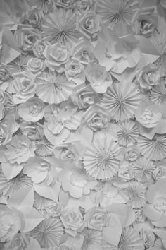 paper flower backdrop (maybe for photobooth) - replace with roses and hydrangeas!