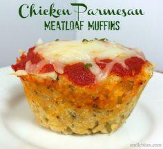 """Chicken Parmesan Meatloaf """"Muffins"""" --Emily Bites"""
