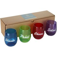 Set of 4 Plastic Stemless 12 oz Wine Glasses  Shatterproof Flexible and Reusable Cheers Slogan Cheers Slainte Prost and Salud >>> Read more reviews of the product by visiting the link on the image.