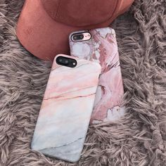 Smoked Coral Case on Black & Rose Marble on Rose Gold. Available from Elemental Cases. Shop iPhone 6/6s, 6 Plus/6s Plus, 7 & 7 Plus Cases now!