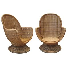 Large Egg Shape Swivel and Tilt Rattan Chairs | From a unique collection of…