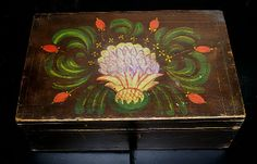 A wonderful decorated box with free hand decoration. The center is a large folky pineapple surrounded by leaves and flowers in red,yellow,an...http://www.jewettandberdan.com
