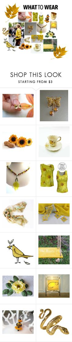 """Mellow Yellow"" by therusticpelican ❤ liked on Polyvore featuring Liz Claiborne, modern, contemporary, rustic and vintage"