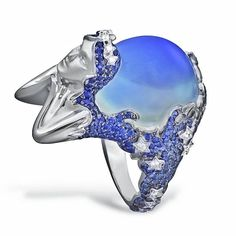 """Lydia Courteille. """"13th sign collection"""". Gold, diamond, sapphire & moonstone Virgo ring...♡"""