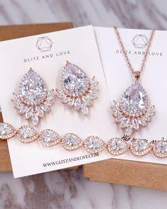 Rose Gold Fancy CZ Teardrop Jewelry Set, for brides and bridesmaids. Bridal shower gifts, wedding jewelry, silver teardrop cubic zirconia, earrings, necklace and bracelet, www.glitzandlove.com #GoldJewelryjewels