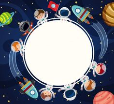Border template with astronauts in space Vector Best Logo Fonts, Space Classroom, Outer Space Party, Border Templates, Space Artwork, Powerpoint Background Design, Kids Background, Space Illustration, Astronauts In Space