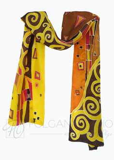 Hand Painted Gustav  Klimt  'Inspired by'   Silk by PolganiStudio, $65.00