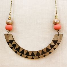 Athena - Geometric Tribal Wood Necklace with Polymer Clay beads - peach & copper glitter - laser cut
