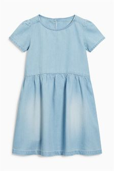 Buy Denim Smock Dress from the Next UK online shop Annie Costume, Casual Dresses, Girls Dresses, Smock Dress, Next Uk, Smocking, Short Sleeve Dresses, Denim, My Style