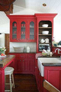 Repurpose A China Cabinet And Change Counter Top So It Matches Counters Basement Kitchenette Red Kitchen