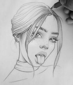 Girl Drawing Sketches, Girly Drawings, Art Drawings Sketches Simple, Pencil Art Drawings, Realistic Drawings, Tumblr Girl Drawing, Tumblr Sketches, Art Sketchbook, Drawing People