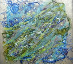 "Created with fabrics, fibres, threads, free motion stitching and water soluble stabilizer. 6"" x 6"" ""Swimming Upstream"""