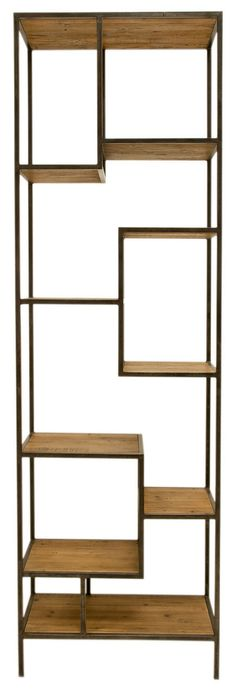 Modern & Industrial work so well together! Example: This geometric Iron & Reclaimed Wood Bookcase! - shopbeing