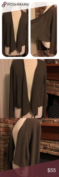 Eileen Fisher Taupe Long-sleeve Wool Cardigan Sz:L 100% Wool Asymmetrical cut w small slits on side to punctuate style! Great w boots and other layered colors. See other items in my closet Eileen Fisher Jackets & Coats Vests
