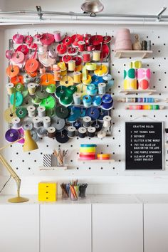 Today I'm sharing the Craft Area! Crafting is how Oh Happy Day started and it's really built into the DNA of the brand. I remember sitting on the floor of my living room making these pinatas for a blo Diy Confetti, Location Villa, Color Crafts, Upcycled Crafts, Space Crafts, Color Of The Year, My Living Room, Happy Day, Getting Organized
