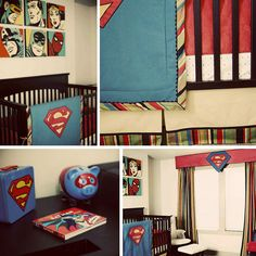 "Original pinner says ""I like this vintage superhero nursery for a little boy. The muted colors are a nice change."" ....or a little girl? V could dig on super heroes!"