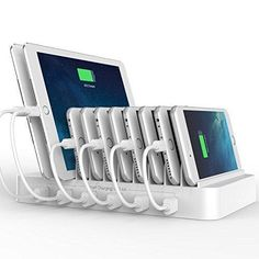 FlePow 10-Port USB Charging Station Dock with Built-in Charge Cables(Patented Retractable Design) Organizer for Smart Phones & Tablets White