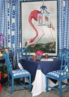 Danielle Rollins This flamingo Audobon print really pops against a blue and white palette with Chinese Chippendale chairs.