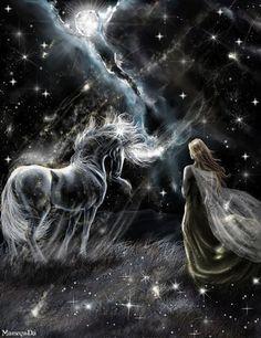 Femme et cheval aériens ciel étoilé