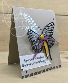 Happiness from a Butterfly | Stampin\' Up! | Butterfly Basics | Dragonfly Dreams #literallymyjoy #butterflies #honeycomb #ribbons #heatembossing #flowers #FreshFig #20172018AnnualCatalog