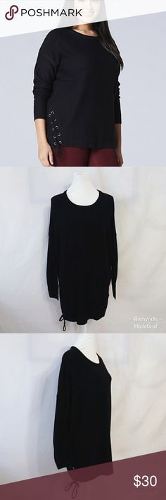 """Side Lace-Up Sweater Side lace-up sweater size 24-28. Side lace up detail on right right side, long sleeves with slightly boxy shape. Measures 31"""" from shoulder to hem and 28"""" pit to pit. A easy throw on sweater to wear with your favorite jeans or leggings! Capsule Sweaters"""