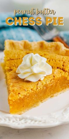 Peanut Butter Chess Pie is an easy pie recipe full of peanut butter! This is a twist on a classic chess pie and it's SO good - peanut butter lovers will love this pie. Easy Pie Recipes, Best Dessert Recipes, Fun Desserts, Baking Recipes, Party Recipes, Dessert Ideas, Best Peanut Butter, Peanut Butter Recipes, Chess Pie