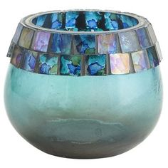 Mosaic Rim Tealight Candleholder - Blue.  Store: Pier 1 Imports. <>  Item #: 2647940. <>  Price: $3.95