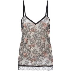 La Perla Daily Looks Leavers Lace Camisole With Embroidery (470 CAD) ❤ liked on Polyvore featuring intimates, camis, lace camis, stretch camisole, v neck lace camisole, lingerie camisole and lace v neck cami