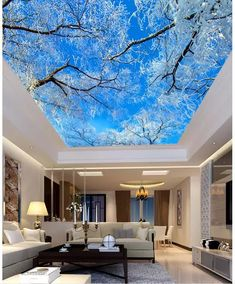 False Ceiling Living Room false ceiling with fan and chandelier.False Ceiling Design For Hall. Floor Murals, Ceiling Murals, 3d Wall Murals, False Ceiling Design, Floor Wallpaper, Photo Wallpaper, Wallpaper Ceiling Ideas, 3d Wallpaper For Room, Wallpaper Murals