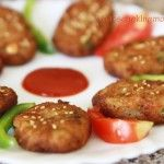 Nutty Sweet potato cutlets coated with sesame seeds | | whatscookingmom.in