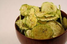 Baked zucchini slices instead of chips. Great healthy snack idea.