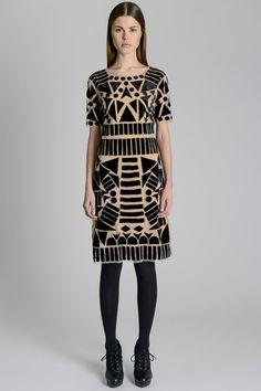 Art Deco inspiration (velvet and leather on tulle) at Catherine Malandrino