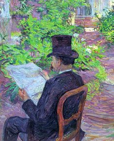Desire Dehau Reading a Newspaper in the Garden Henri de Toulouse-Lautrec (French, Post-Impressionism). Oil on canvas. Toulouse-Lautrec, was a painter,. Henri De Toulouse Lautrec, Pierre Auguste Renoir, Van Gogh, People Reading, Georges Seurat, Romantic Scenes, Kunst Poster, French Artists, Oeuvre D'art