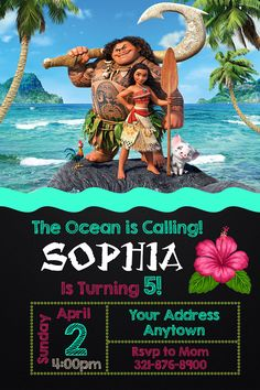 Moana Invitation Moana Birthday Party Invitation Moana