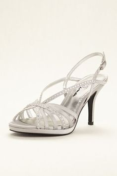 914d29e145b6e Feel fabulous in these eye-catching strappy crystal sandals! Touch of Nina  satin sandals