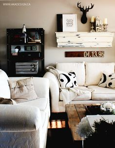 Winter living room by AKA Design, featured on FunkyJunkInteriors.net love the date sign. Must remember for when we get the house done.