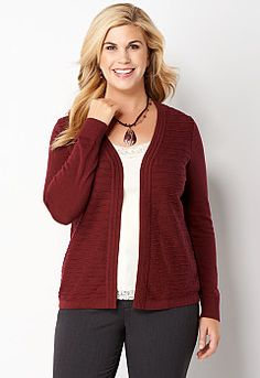 Ottoman Wavy Cardi, 9-0035932968, Ottoman Wavy Cardi Main View PGP Love the sweeter… a little higher neck tank for under neath and a cute skirt. #CBFallFavorites