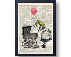 Alice in wonderland Dictionary art print, 8x10 Baby Carriage Wall Art Print, wall decal, decor, illustration vintage dictionary page print