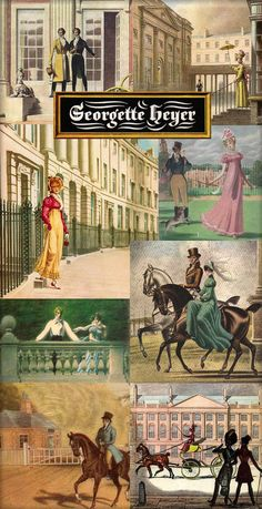 Georgette Heyer is a British historical romance and detective novelist who began writing in the 1920s. Her meticulous attention to detail is even reflected in the beautiful cover art on each dust jacket depicting her world of regency England. (orig. pinner comment) Cover artist: Arthur Barbosa