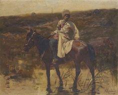 Frants Roubaud (Ukrainian, 1856-1928), The Cossack, 1896. Oil on panel, 20.5 x 25.5 cm.