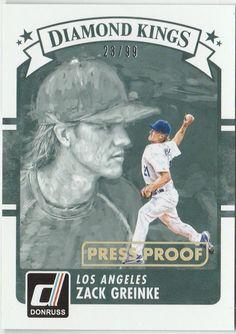 2016 Donruss Baseball Diamond Kings 14 Zack Greinke Press Proof 23/99 #LosAngelesDodgers