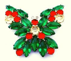 Juliana Butterfly Brooch D&E Verified Green Yellow Orange Rhinestones Silver…