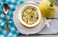 How cool is this serving the Risotto in a Sfusato Lemon from Amalfi!