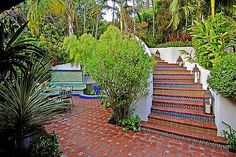 The staircase at Ben Stiller's Hollywood Hills home.