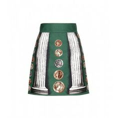 Dolce & Gabbana Printed Linen And Cotton-Blend Skirt