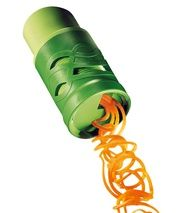 Vegetable Twister - turns vegetables into spaghetti. Boil as you would pasta. Need this.