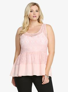 """Drum up a flattering look with this feminine peplum. It has a lovely semi-sheer floral lace body with an easy-flowing chiffon hem. This pretty pink hi-lo style is ready to top off your sunny-day look.<br><br><b>Model is 5'9"""", size 1</b>"""
