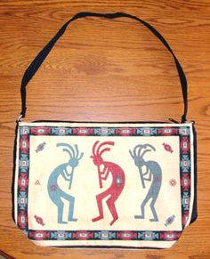 """Purse Handbag 3 color Dancing Kokopelli Cotton Canvas 13x19"""" Zips Fun and colorful, this Kokopelli purse is a great addition to any wardrobe.  Just 21.95 w/ FREE shipping w/in USA. #purse #shoulderbag #kokopelli #nativeamerican"""