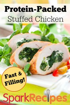 Garlic Spinach Stuffed Chicken. GREAT recipe! It also looks super fancy, but it's super easy... very impressive-looking for your dinner guests! | via @SparkPeople #chicken #dinner #healthy #recipe